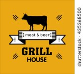 grill house. vintage grill logo ... | Shutterstock .eps vector #435368500