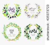 hand drawn olive oil watercolor ...   Shutterstock .eps vector #435373723