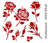vector rose icon. spring... | Shutterstock .eps vector #435375910