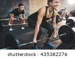 cheerful muscular young woman... | Shutterstock . vector #435382276