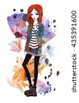 cute girl in a grunge style.... | Shutterstock . vector #435391600