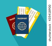 passport with tickets flat icon ... | Shutterstock .eps vector #435418900