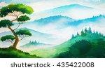 watercolor summer landscape.... | Shutterstock . vector #435422008