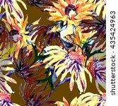 watercolor sunflowers seamless... | Shutterstock . vector #435424963