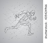 polygon mesh silhouette of... | Shutterstock .eps vector #435424966
