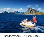 fishing boat in norway fjord  ... | Shutterstock . vector #435428458