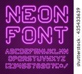 neon light alphabet vector font.... | Shutterstock .eps vector #435433639