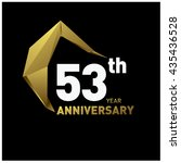 53th anniversary logo with gold ... | Shutterstock .eps vector #435436528