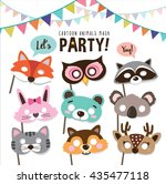 set of cartoon animals party... | Shutterstock .eps vector #435477118