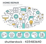home repair tools concept... | Shutterstock .eps vector #435483640