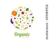 organic food shop logo concept. ... | Shutterstock .eps vector #435485926
