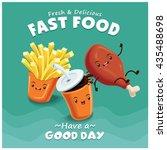 vintage fried chicken  drink  ... | Shutterstock .eps vector #435488698