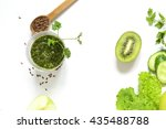 healthy green smoothies with... | Shutterstock . vector #435488788
