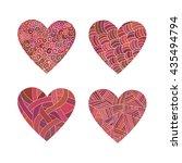 set doodle pink hearts. | Shutterstock .eps vector #435494794