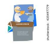 two cartoon men with present... | Shutterstock .eps vector #435497779