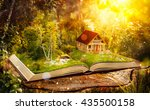 cute magical log house in a... | Shutterstock . vector #435500158
