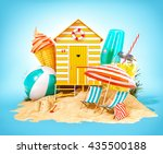colorful retro beach hut  ... | Shutterstock . vector #435500188