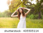 happy beautiful young woman in...   Shutterstock . vector #435505114