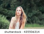 beautiful young girl with long... | Shutterstock . vector #435506314