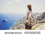 female traveler looking at the... | Shutterstock . vector #435508330