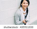 half length of young beautiful... | Shutterstock . vector #435511333