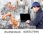 engineer programing computer... | Shutterstock . vector #435517594