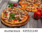 delicious homemade pizza  with... | Shutterstock . vector #435521140