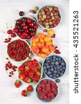 various fresh fruits in bowls... | Shutterstock . vector #435521263