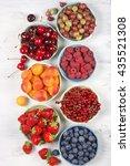 various fresh fruits in bowls... | Shutterstock . vector #435521308