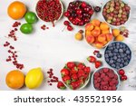 various fresh fruits in bowls... | Shutterstock . vector #435521956