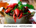 Boiled Crayfish With Dill In A...