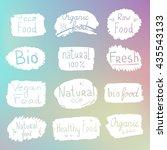vector labels with vegetarian...   Shutterstock .eps vector #435543133