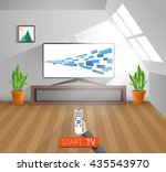watch tv in a home room  vector ... | Shutterstock .eps vector #435543970