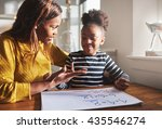 mom learning daughter to... | Shutterstock . vector #435546274