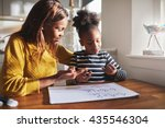 black mom and child doing... | Shutterstock . vector #435546304