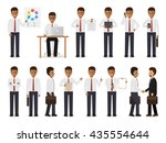 set of black working people on... | Shutterstock .eps vector #435554644