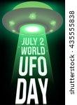 world ufo day poster. flying... | Shutterstock .eps vector #435555838