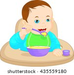 baby boy eating baby food | Shutterstock .eps vector #435559180
