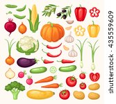 vector icons set of fresh... | Shutterstock .eps vector #435559609