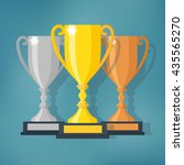 gold  silver and bronze trophy... | Shutterstock .eps vector #435565270