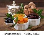 mix dried fruits  date palm...   Shutterstock . vector #435574363