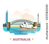 australia country flat cartoon... | Shutterstock .eps vector #435582040
