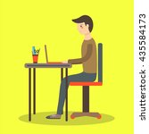 flat style man sitting on the... | Shutterstock .eps vector #435584173