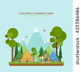 summer children's camping.... | Shutterstock .eps vector #435586486