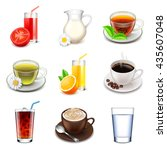 non alcoholic drinks icons... | Shutterstock .eps vector #435607048