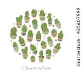 circle illustration with cute... | Shutterstock .eps vector #435607999