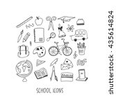 school hand drawn icon set   Shutterstock .eps vector #435614824