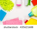 house cleaning products on... | Shutterstock . vector #435621688