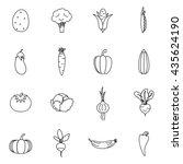 vegetables icons set | Shutterstock . vector #435624190