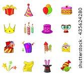 birthday icons set